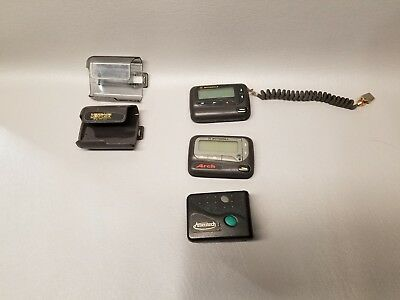 Lot of 3 Motorola Pagers w/ holsters