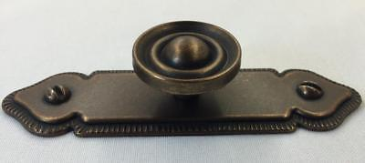 Antique Brass Finish Cabinet Drawer Door Ringed Knob Pull & Backplate Qty 20