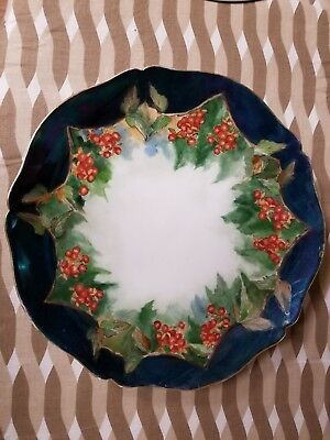 Vintage Limoges France Hand Painted Gold Trim Berry Plate Scalloped