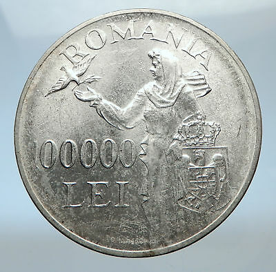 1946 ROMANIA under Michael I w Romanian Lady and Bird Silver Vintage Coin i73816
