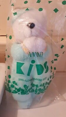 Vintage Avon Sing-Along Singing Praying Teddy Bear 1996 NIP Plush Toy