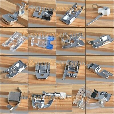 15PCS Presser Foot Feet Brother Singer Janome Toyota Domestic Sewing Machine