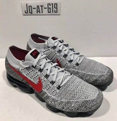 Nike Air Vapormax Flyknit Size 11.5 Pure Platinum/University Red 849558-020