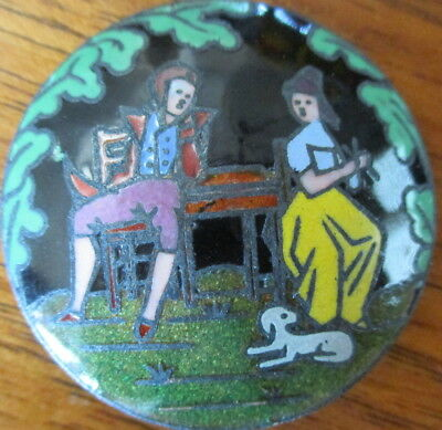 """1940s Vintage French Metal ENAMEL Button """"JOHN GILPIN"""" BBB~Antique Champleve"""