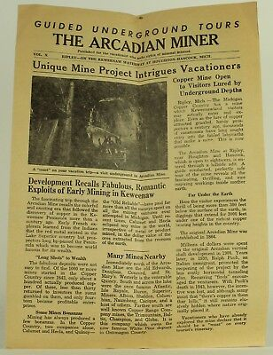 1960 THE ARCADIAN MINER Tourist Publication (Now-Defunct Mine in Hancock, MI)