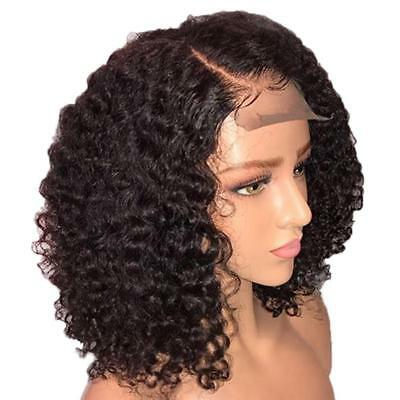 Lace Front Natural Curly Wig Blend Bob  Wig Cover For Women Heat Safe Human Hair