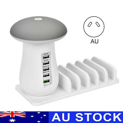Multi Port USB Smart Charging Station Mushroom Lamp Charger Stand For iPhone Pad
