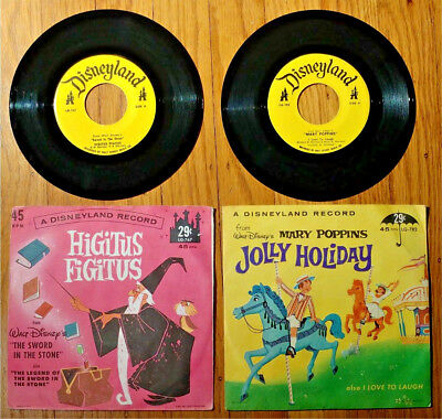 Vintage Disney 45rpm Mary Poppins Jolly Holiday 1964 and Higitus Figitus 1963