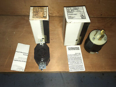 Leviton 2321 20 Amp, 250 Volt, + a  2420 Locking Receptacle 20 amp 250v  2 lot
