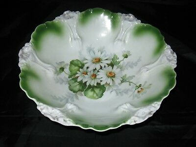 Large Vintage Bowl Molded Floral Scalloped Rim, White Daisies German Porcelain