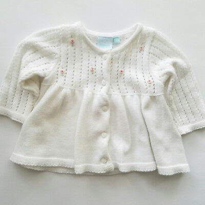 Vintage White Knitted Infant Babygirl Sweater Size 3 Months