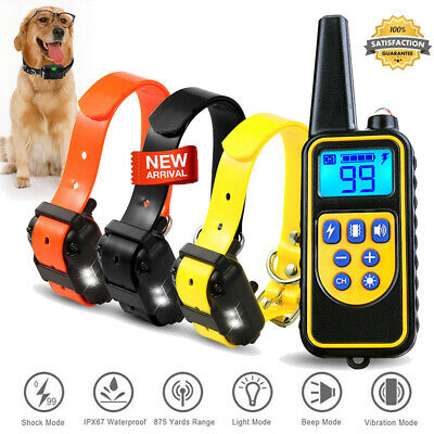 875Yard Waterproof IP67 Pet Training Shock Electric Collar Remote for 1 2 3 Dogs