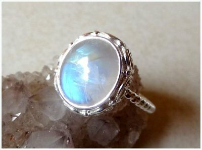 925 Sterling Silver MOONSTONE Semi Precious GEMSTONE RING SIZE P - US 7 3/4