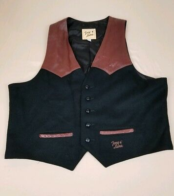Tony Lama Vintage Wool & Leather Vest Mens Size XXL Western Cowboy Made In USA