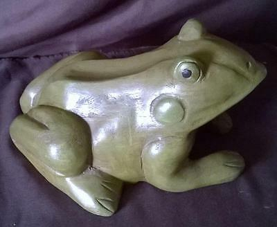TREEN VINTAGE HAND CARVED - HAND PAINTED WOODEN TOAD - Circa 1930s - FOLK ART -