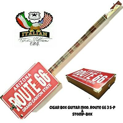 ROUTE 66-3SP Slide Cigar Box Guitar  & Stomp-Box by Robert Matteacci