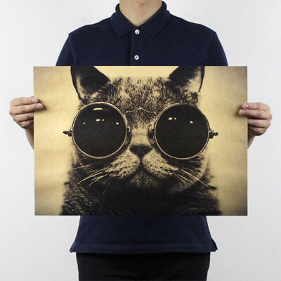 Cool Handsome Cat Sunglasses Rock Kraft Paper Retro Poster Painting Home Decor