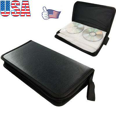 80 Sleeve CD DVD Blu Ray Disc Carry Case Holder Bag Wallet Storage Ring Binder