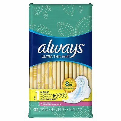 Always Ultra Thin Regular With Wings Clean Scented Pads 32 Count (Pack of 2)