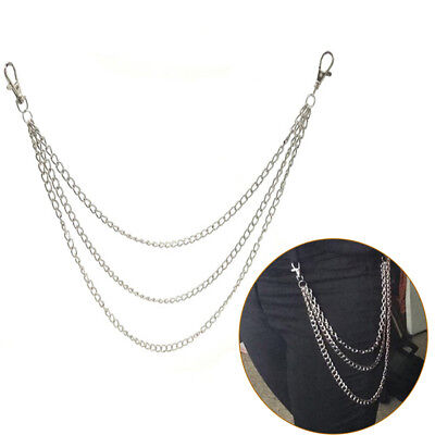 3Std Trousers Men Lady Chain Jeans Wallet Keychain Punk Rock Hip Hop Waist Belt#