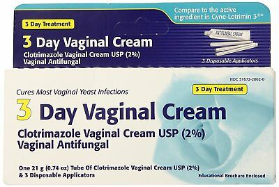 Clotrimazole 3-Day Treatment Vaginal Antifungal Cream 2% 0.74 oz
