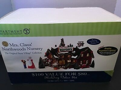 Dept 56 Snow Village Mrs Clauses Northwood Nursery Lighted Euc