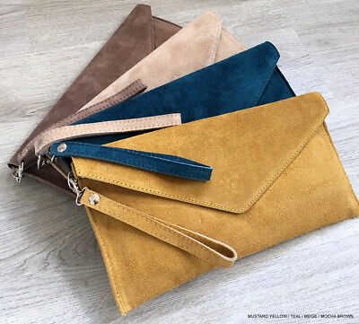 Mustard Wedding Clutch Bag Evening Bag Over Size Envelope Suede Made in Italy
