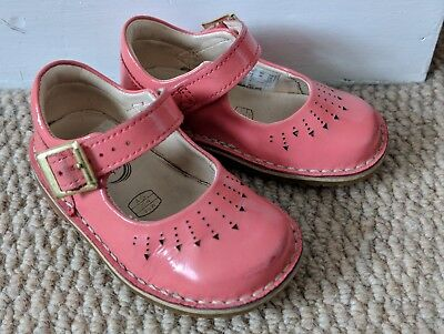 Clarks Yarn Jump Girls First Shoes Patent Coral Pink 4G 4 G Infant Toddler