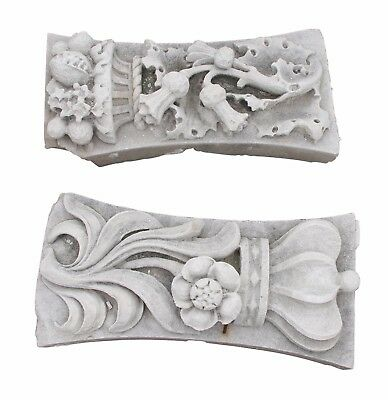 Pair of Carved Limestone Thistle & Crown Emblems