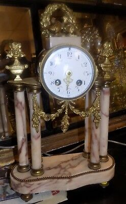 Antique French Gilt Brass & Marble Portico Mantel Clock