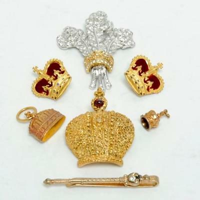 Collection Of Vintage Miniature Crowns Historic British Royalty