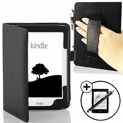 Leather Black Case Cover with Hand Strap Amazon Kindle 2016 Screen Prot Stylus