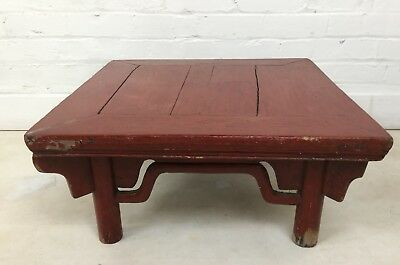 Antique Red Lacquer Japanese low Chabudai Zataku Table heavy rustic construction