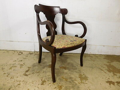 Vintage 1940s Mahogany Antique Empire Style Dining Desk Arm Chair