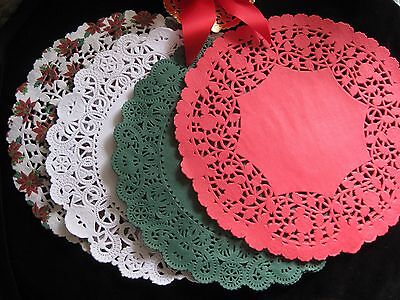 """36🎄pc 10"""" INCH CHRISTMAS HOLIDAY PAPER LACE DOILY RED WHITE GREEN POINSETTIA"""