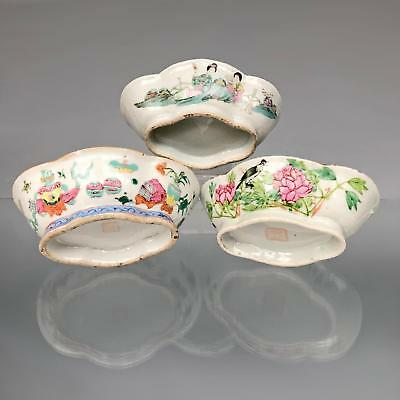 3X antique Chinese FAMILLE ROSE OFFERING BOWLS c1900 Qing - Republic porcelain