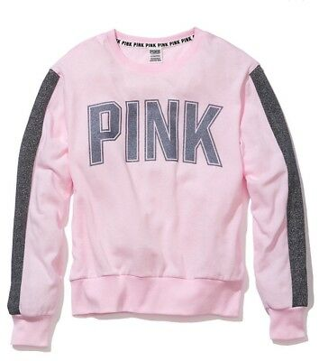 NWT Victorias Secret PINK Campus Crew Sweatshirt Shine & Bling M $65 W/ Gift Bag