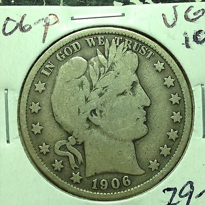 1906-P    VG-F   Barber Half Dollar   LITY and top of BER