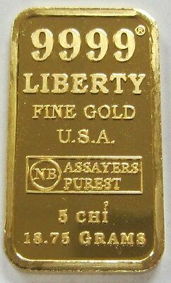 Rare 18.75 Gram .9999 Fine Gold Bullion Bar Statue of Liberty