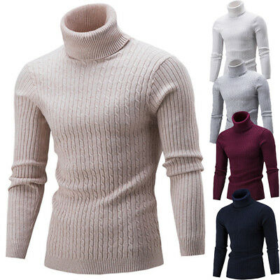 Fashion Mens Roll Neck Long Sleeve Cotton Top Twisted Turtle Neck Sweater Tops