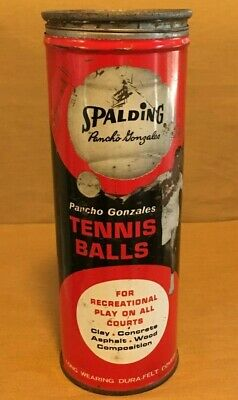 "Vintage Tennis Ball Can from Spalding ""Pancho Gonzales"" with Lid"