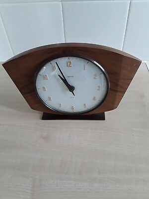 Vintage Smith's 8 Day Floating Balance Mantle Clock In Working Order