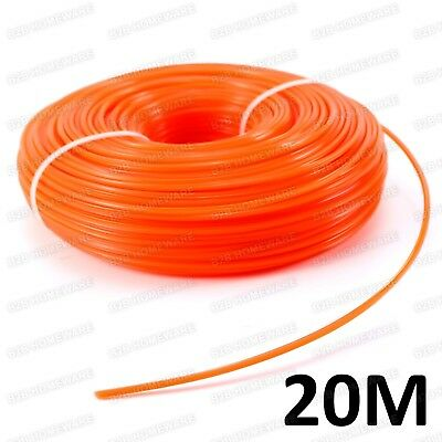 20M, 2Mm Petrol Strimmer Trimmer Trim Nylon Spool Line Grass Wire Rope Cord