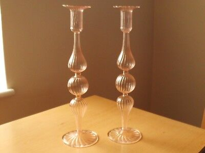 Vintage Large Pink Art Glass Ribbed Pillar Candlesticks ~ 13 1/4 inches High.