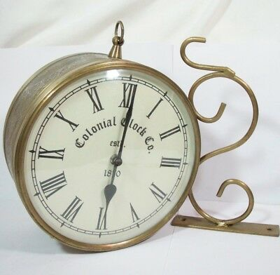 Colonial Clock Co Antique Look Brass Round Wall Hanging Double Side Two