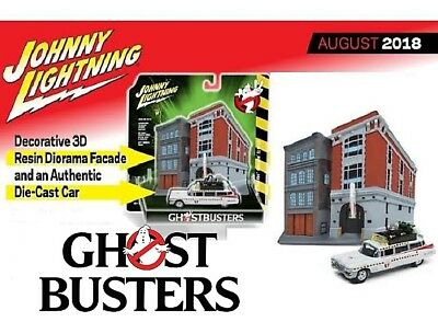 Johnny Lightning Ghostbusters Firehouse Diorama & 1/64 Ecto-1  1959 Cadillac