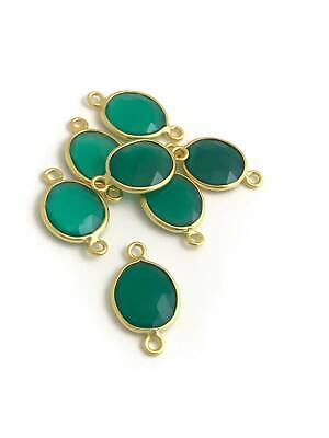 Green Onyx Connectors, Bezel Connector, Jewelry Supplies, Gold Plated Connectors