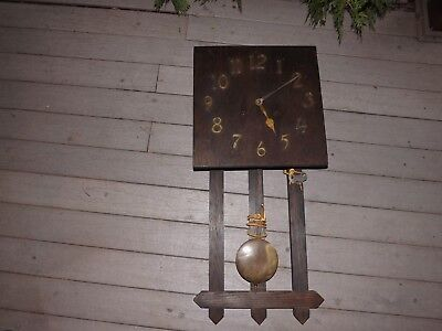 Antique Working Early 1900s German Clock Co Mission Oak 8 Day Wall Clock Working