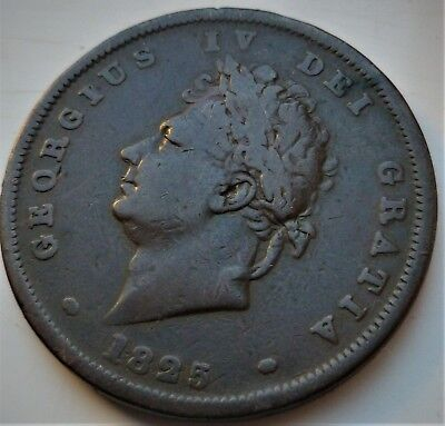 1825 George Iv Large Penny Coin (Scarce Year) Nice Coin, 193 Years Old