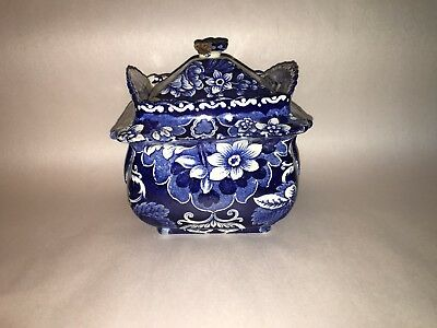Historical Staffordshire Dark Blue Floral Sugar Bowl 1825 Transfer